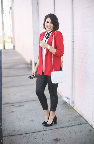 life & messy hair blogger bag jacket leggings shoes top jewels red jacket blazer fall outfits white bag shoulder bag high heel pumps pumps skinny pants