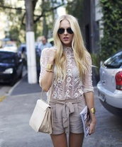 shorts,cheyenne meets chanel,beige,gold cuff,lace shirt,cream,white,blogger,sheer,shirt,blouse,white blouse