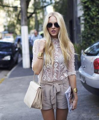 shorts cheyenne meets chanel beige gold cuff lace shirt cream white blogger sheer shirt blouse white blouse