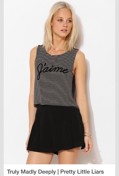shirt t-shirt top j'aime black fashion pretty little liars hanna marin tank top grey
