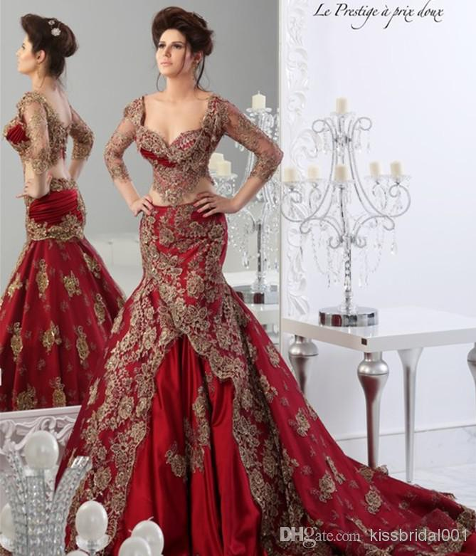 Wholesale 2014 Wedding Dresses - Buy Luxury 2014 Sheer Crystal Red Formal Wedding Dresses Lace Applique Mermaid Ball Gown 3/4 Long Sleeve Prom Gowns Arabic Jajja Couture Dress, $200.47 | DHgate