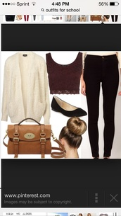 blouse,jacket,forever 21,top,fall outfits,outfit,cardigan,thick cream knit,fashion,pants,bag,tank top,shoes,lace,brown,lace top,crop tops,burgundy