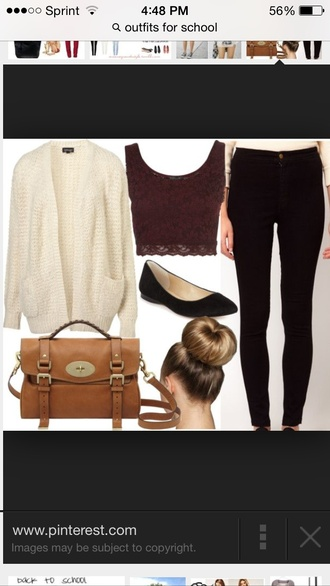 blouse jacket forever 21 top fall outfits outfit cardigan thick cream knit fashion pants bag tank top shoes lace brown lace top crop tops burgundy