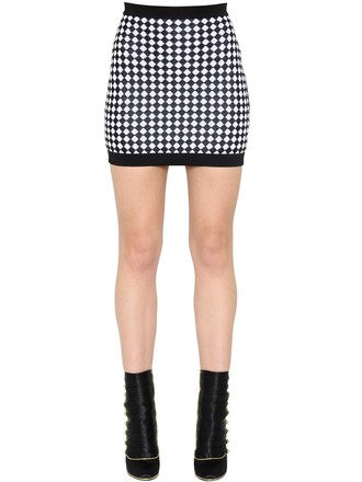 skirt mini skirt mini knit jacquard white black