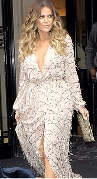 dress ivory peach gown wrap dress khloe kardashian khloe diamonds