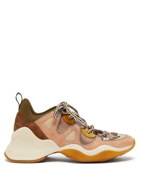 Fendi - Panelled Mesh And Suede Trainers - Womens - Nude Multi