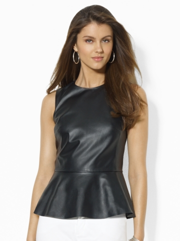 Leather Peplum Top - Sleeveless   Shirts - RalphLauren.com