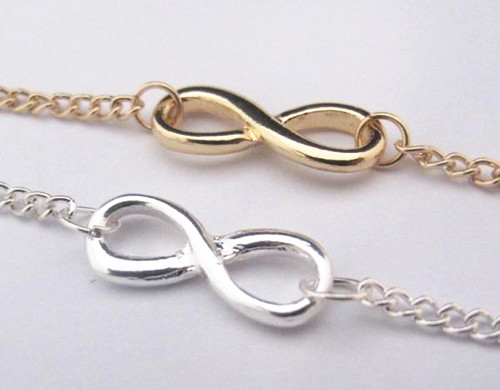 Fashion charm simple golden silver infinite infinity sign bracelet bangle chain