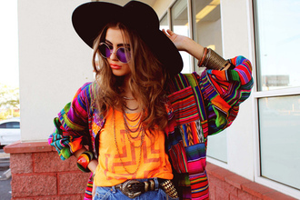 hat summer black fashion retro vintage round sunglasses hippie aztec jacket pattern sunglasses hipster boho sweater orange purple green shirt coat cardigan bright neon patterned sweater jeans shorts t-shirt blouse high waisted shorts glasses belt colorful cute tumblr tumblr girl boho chic indie sweater indie boho