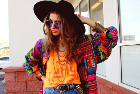 hat black hat black summer big hat round hat couture fashion trend jacket inca inca jacket colourful color colourful jacket pattern sunglasses hipster hippy boho