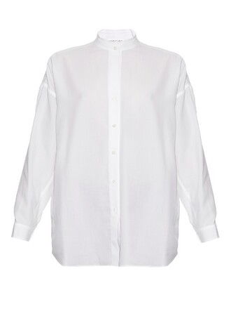 shirt back open cotton white top