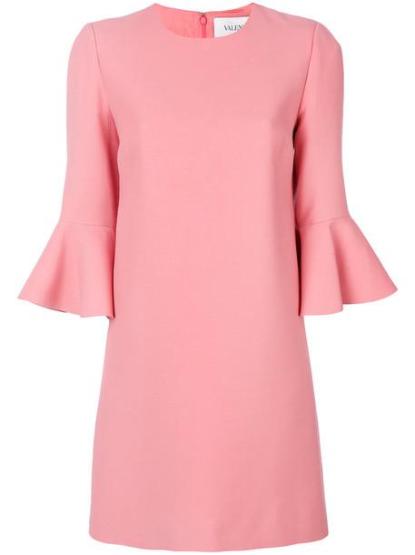 dress bell sleeve dress women silk wool purple pink