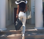 jeans,cream,chanel,hat,black and white hat,sun hat,wide brimmed hat,black and white,stripes,white,high waisted,mid rise,skinny