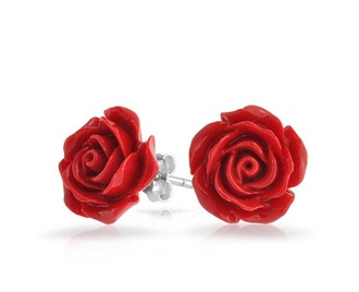 jewels earrings studs floral roses red cute red roses tumblr dope tumblr girl