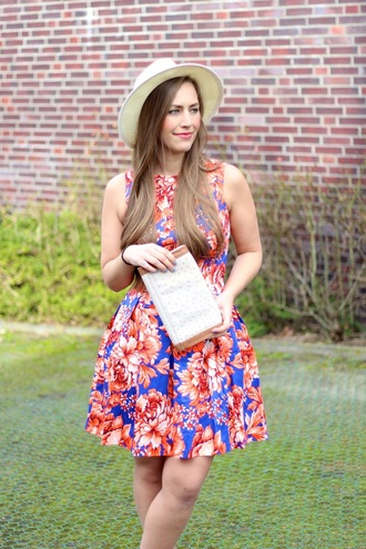 dress skater dress asos aldo river island hat fedora floral flowers blogger fashion blogger fabes fashion girl pretty beautiful bold color bag