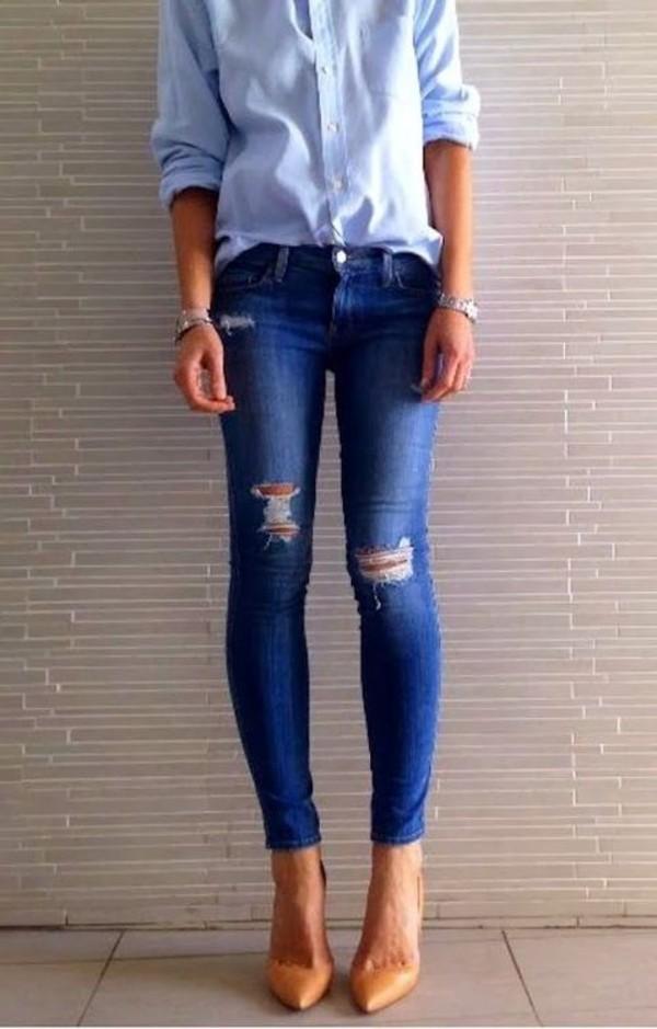 jeans blue shirt