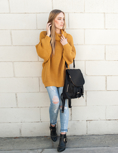 eat sleep wear,blogger,mustard,knitwear,ripped jeans,ankle boots,leather backpack,bag,sweater,jeans,shoes,mustard sweater,oversized turtleneck sweater