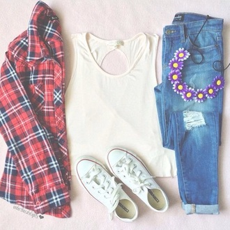 blouse jeans tank top
