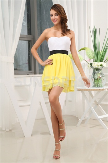 A-Line Sweetheart White And Yellow Sleeveless Chiffon Mini Cocktail Party Dress -Special Occasion Dresses