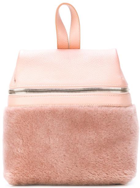 kara fur women backpack leather purple pink bag