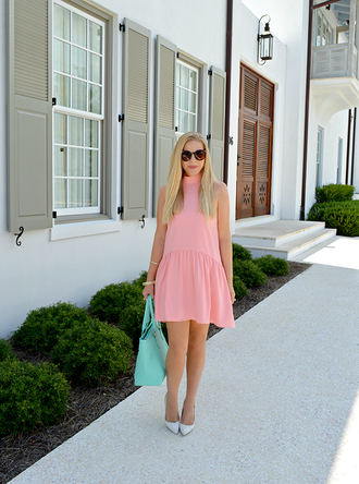 lauren conrad blogger dress bag jewels shoes sunglasses pink dress mini dress short dress blue bag pointed toe pumps pumps mint