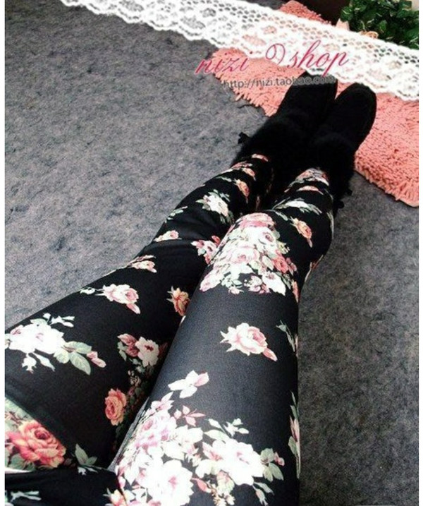 tights Floral tights black and pink pink floral roses
