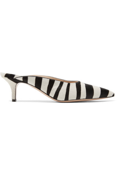 Gianvito Rossi zebra hair mules print zebra print shoes