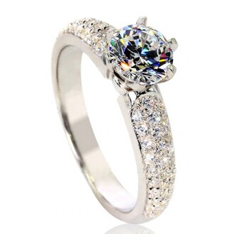 jewels white round diamond engagement ring platinum plated silver ring 1.0 ct top synthetic diamond engagement ring - platinum plated 925 sterling silver evolees.com