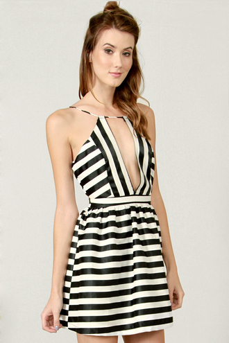 backless deep v stripes black and white skater fit ad flare cut-out