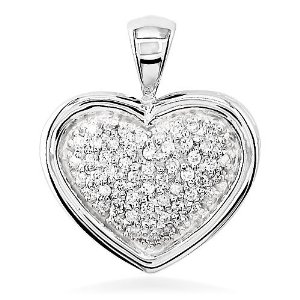 Amazon.com: diamond filled heart pendant in 18k: jewelry