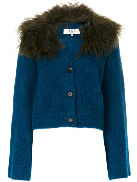 Sea - lamb fur trim cardigan - women - Acrylic/Nylon/Polyester/Lamb Fur - S, Blue, Acrylic/Nylon/Polyester/Lamb Fur