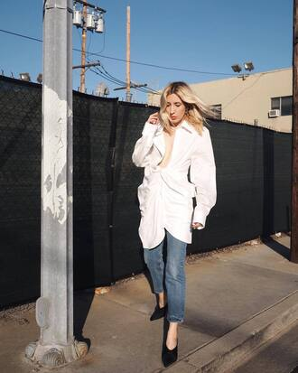 shoes white coat coat jeans denim black mules mules heels black heels