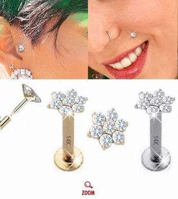 14K Christina Flower Push-In Monroe / Tragus Studs