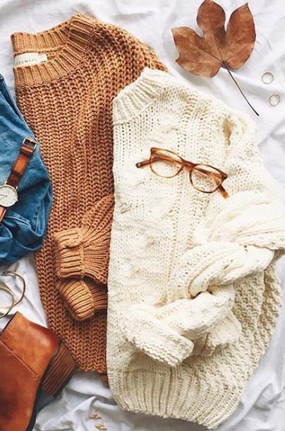 sweater knitted sweater camel white