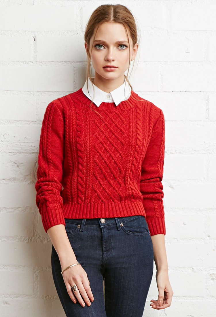 Cable Knit Sweater - Jumpers Cardigans - 2000157974 - Forever 21 UK