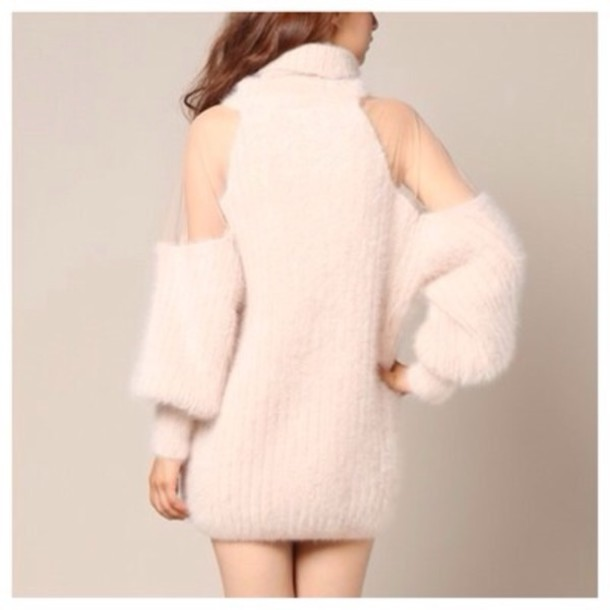 Sweater: sheer sweater, pink sweater, mohair, puffy, soft sweater ...