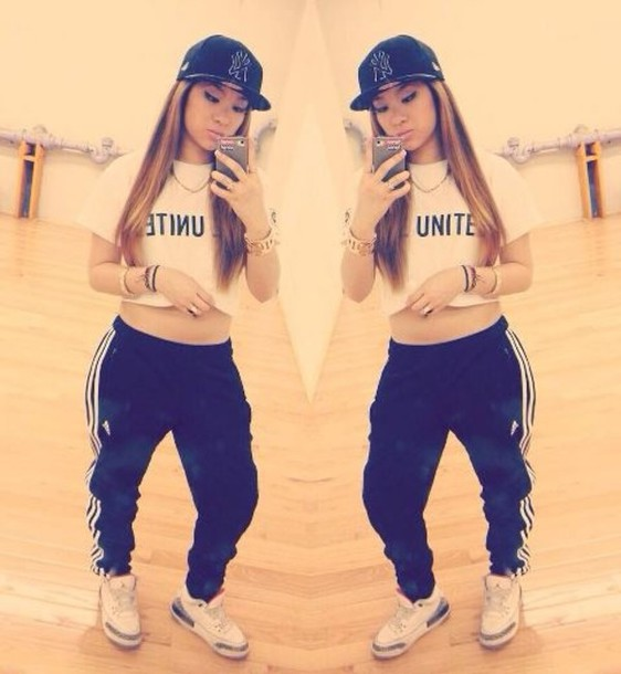 pants sweatpants girl swag hip hop shirt l.a. adidas air jordan sweats crop  tops snapback shoes 06044d9b982