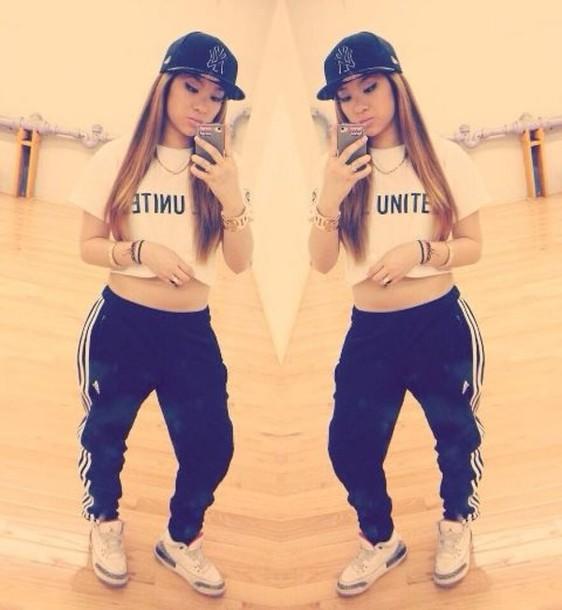 pants sweatpants girl swag hip hop shirt l.a. adidas air jordan sweats crop tops snapback shoes jeans addias pants jordans t-shirt hat adidas jordan dope joggers dope shirt