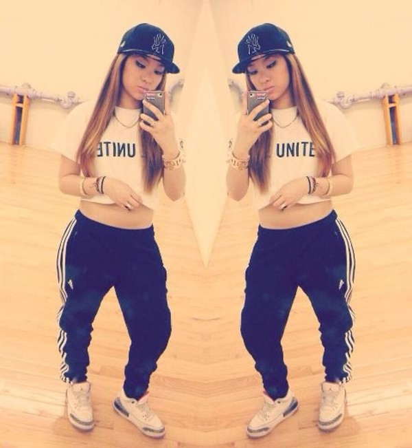 pants sweatpants girl swag hip hop shirt l.a. adidas air jordan sweats crop tops snapback shoes jeans addias pants jordans t-shirt hat adidas jordan dope joggers dope shirt