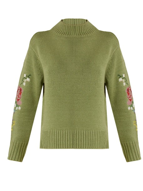 muveil sweater cross embroidered floral green