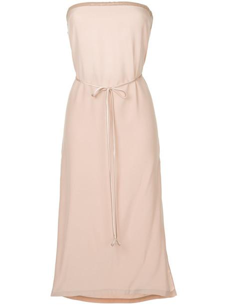 dress midi dress women midi silk purple pink