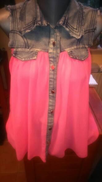 blouse clothes shirt chiffon pink denim sexy neon