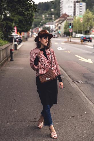 the fashion fraction blogger jacket dress jeans bag hat