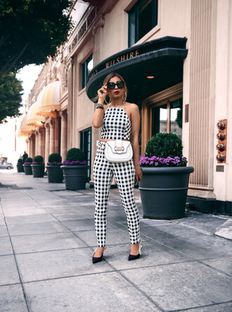 fancycorrectitude blogger top pants sunglasses bag shoes jewels slingbacks white bag