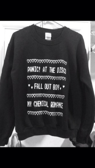 sweater punk fall out boy black bands hoodie rock punk jacket panic! at the disco