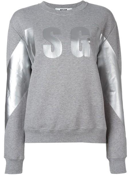 MSGM sweatshirt women cotton print grey sweater