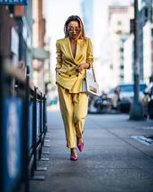 pants,all yellow outfit,yellow,matching set,power suit,office outfits,two piece pantsuits,high heels,heels,yellow pants