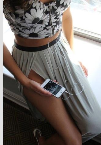 grey crop tops white black flowers maxi skirt