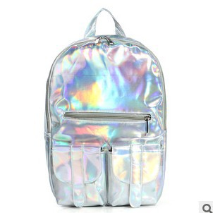 New 2014 promotion silver hologram laser backpack men bag leather bag multicolor silver business zipper backpack women