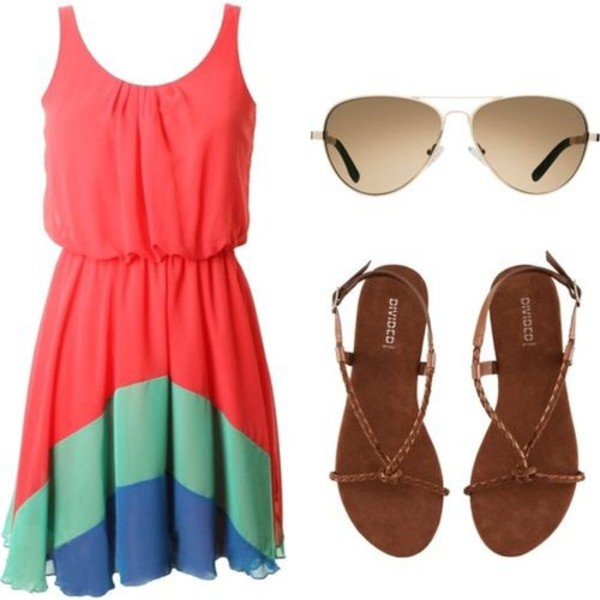dress cute dress pink turquoise light blue shades cute sandals shoes